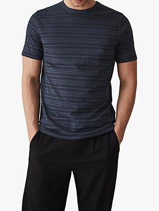Reiss Darras Stripe Crew Neck T-Shirt, Dark Blue