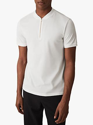Reiss Jojo Zip Neck Short Sleeve Jersey Top, White
