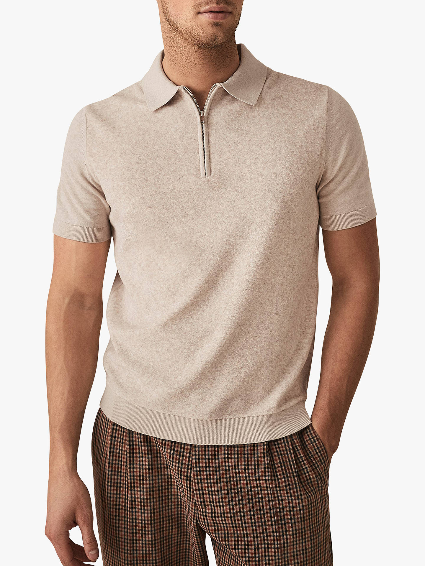 46bf6e459e7 Buy Reiss Victor Towelling Zip Neck Polo Shirt, Stone, L Online at  johnlewis.