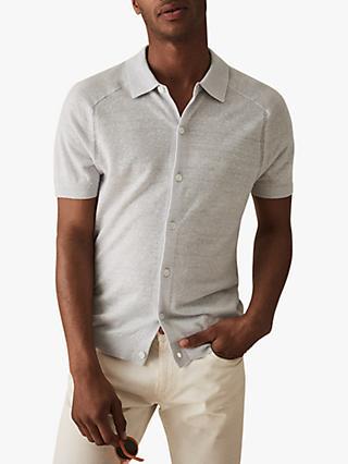 de7d48550 Reiss Fredrick Knitted Short Sleeve Polo Shirt, Ice Grey