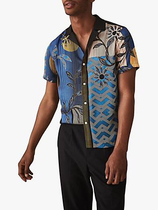 57740aec746 Reiss Pusha Printed Cuban Collar Shirt