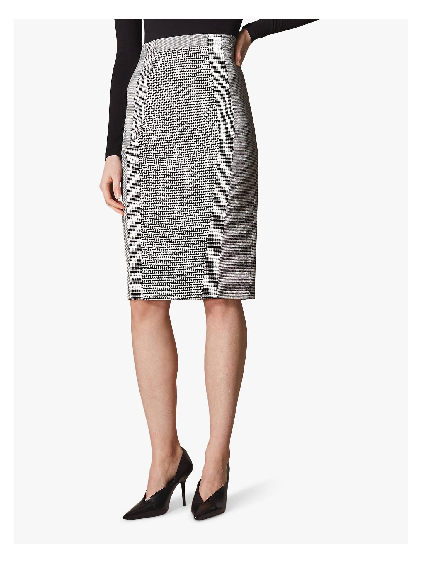 69bec56b5 Buy Karen Millen Gingham Pencil Skirt, Black/White, 6 Online at johnlewis.
