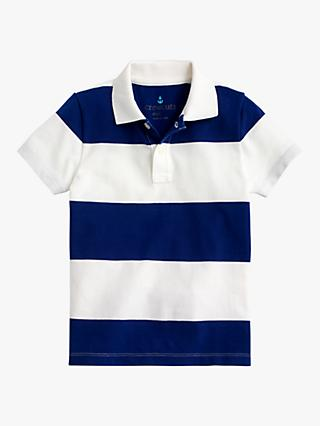 crewcuts by J.Crew Boys' Rugby Stripe Polo Shirt, Ivory/Blue