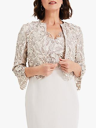 Phase Eight Ellise Lace Jacket, Ivory/Latte