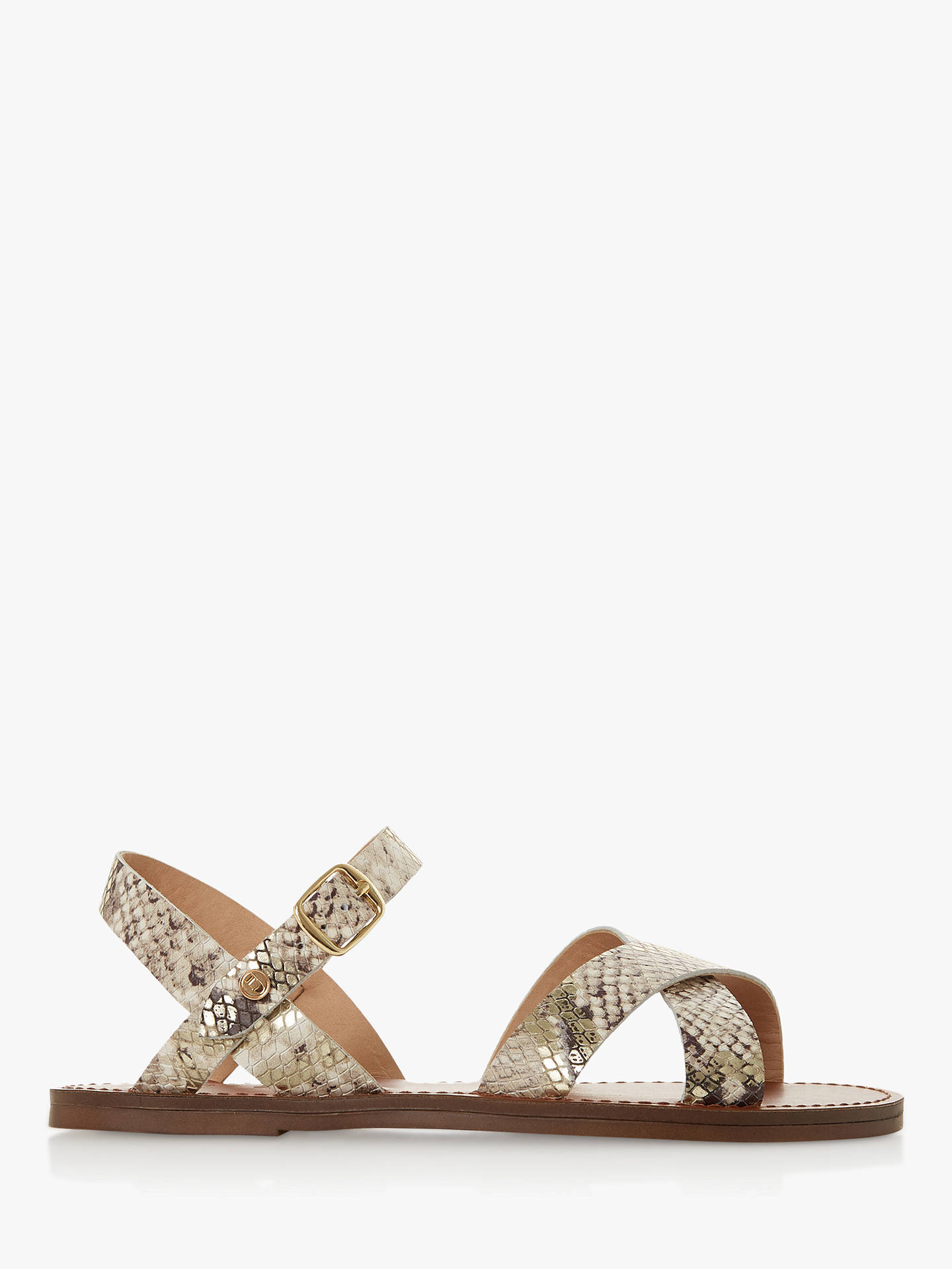 a61326f5ae1b Buy Dune Lavell Cross Strap Sandals, Reptile Print Leather, 3 Online at  johnlewis.