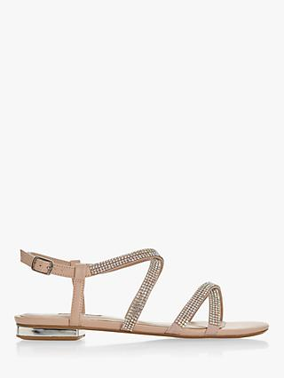 Dune Neevie Diamante Embellished Sandals, Blush