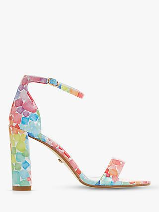 228b2addb56b Dune Marshmallow Print Block Heel Sandals