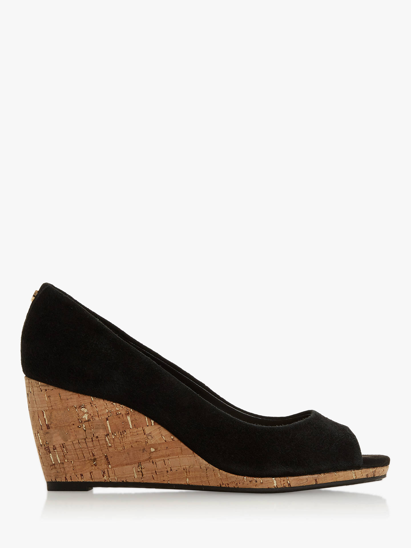 63ed6d35b97 Dune Caydence Peep Toe Cork Wedge Court Shoes, Black Suede