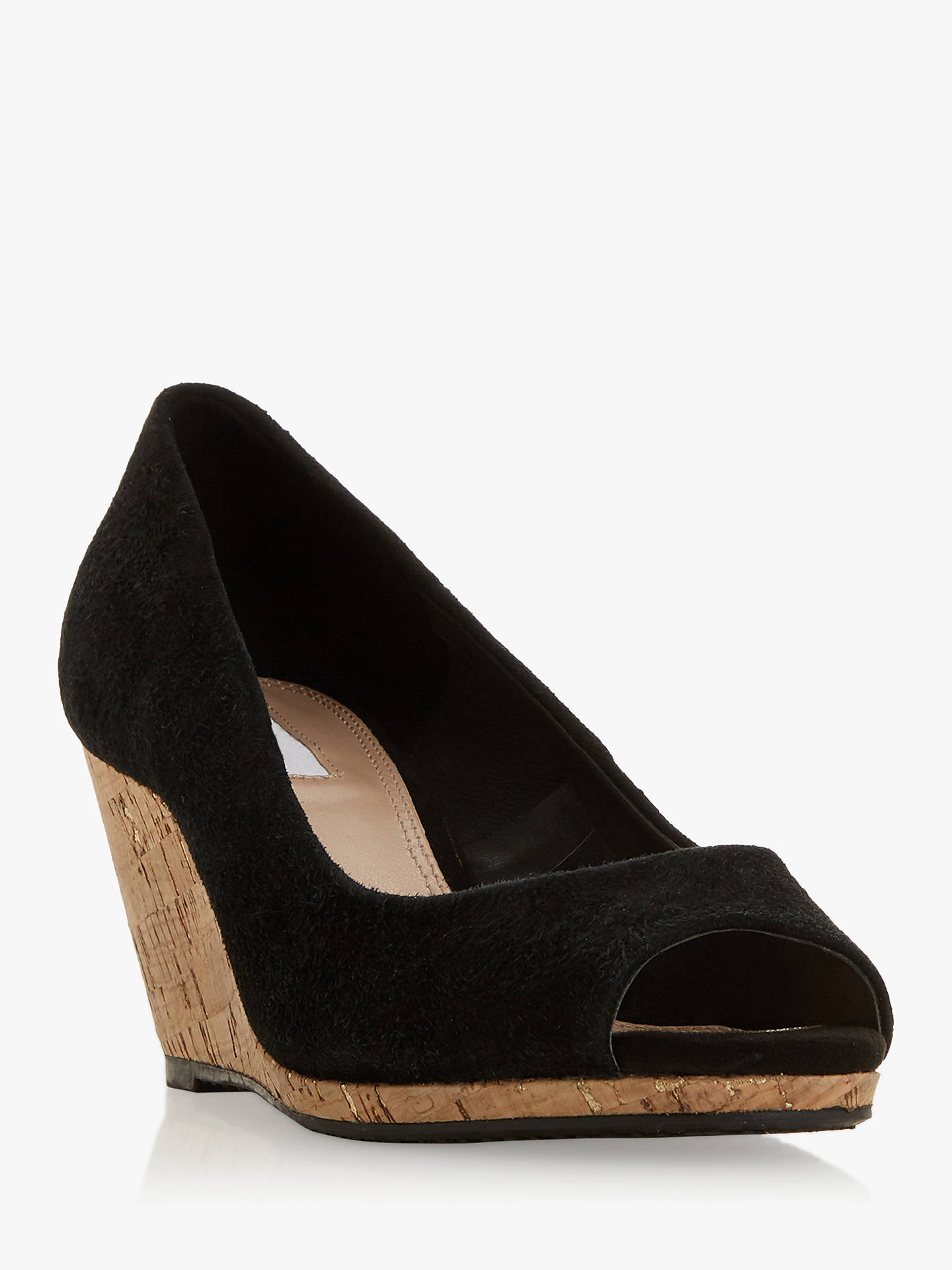 Buy Dune Caydence Peep Toe Cork Wedge Court Shoes, Black Suede, 3 Online at johnlewis.com