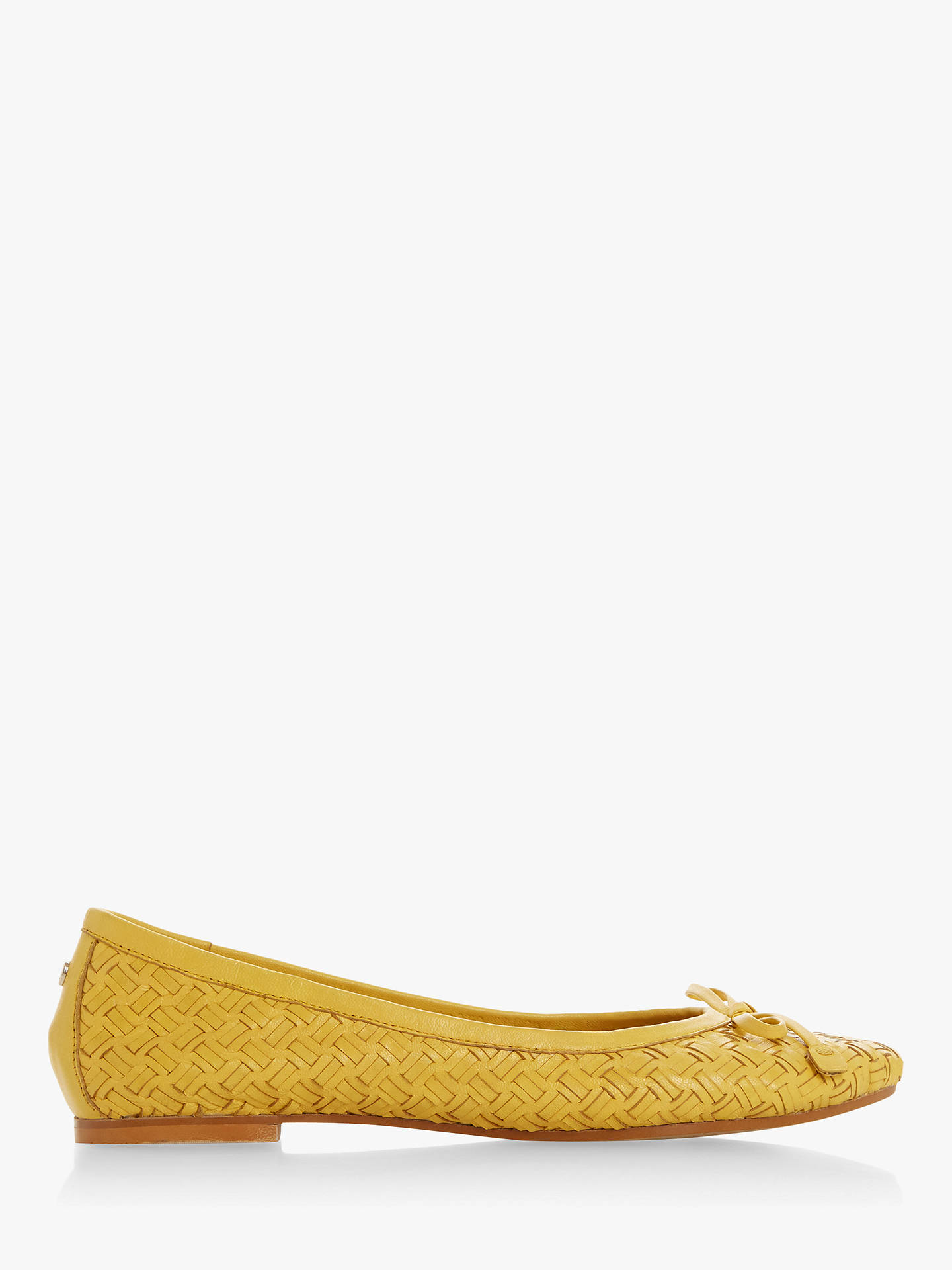 3601ede0f Buy Dune Heavenn Weave Bow Detail Ballerina Pumps, Yellow Leather, 4 Online  at johnlewis ...