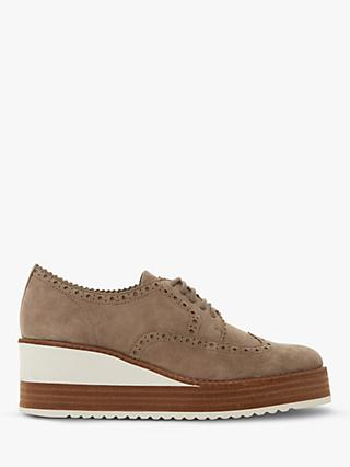 d727fd676531 Dune Flossie Lace Up Wedge Heel Brogues