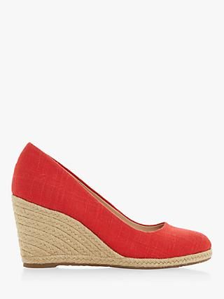 Dune Annabela High Wedge Heel Court Shoes, Red Canvas