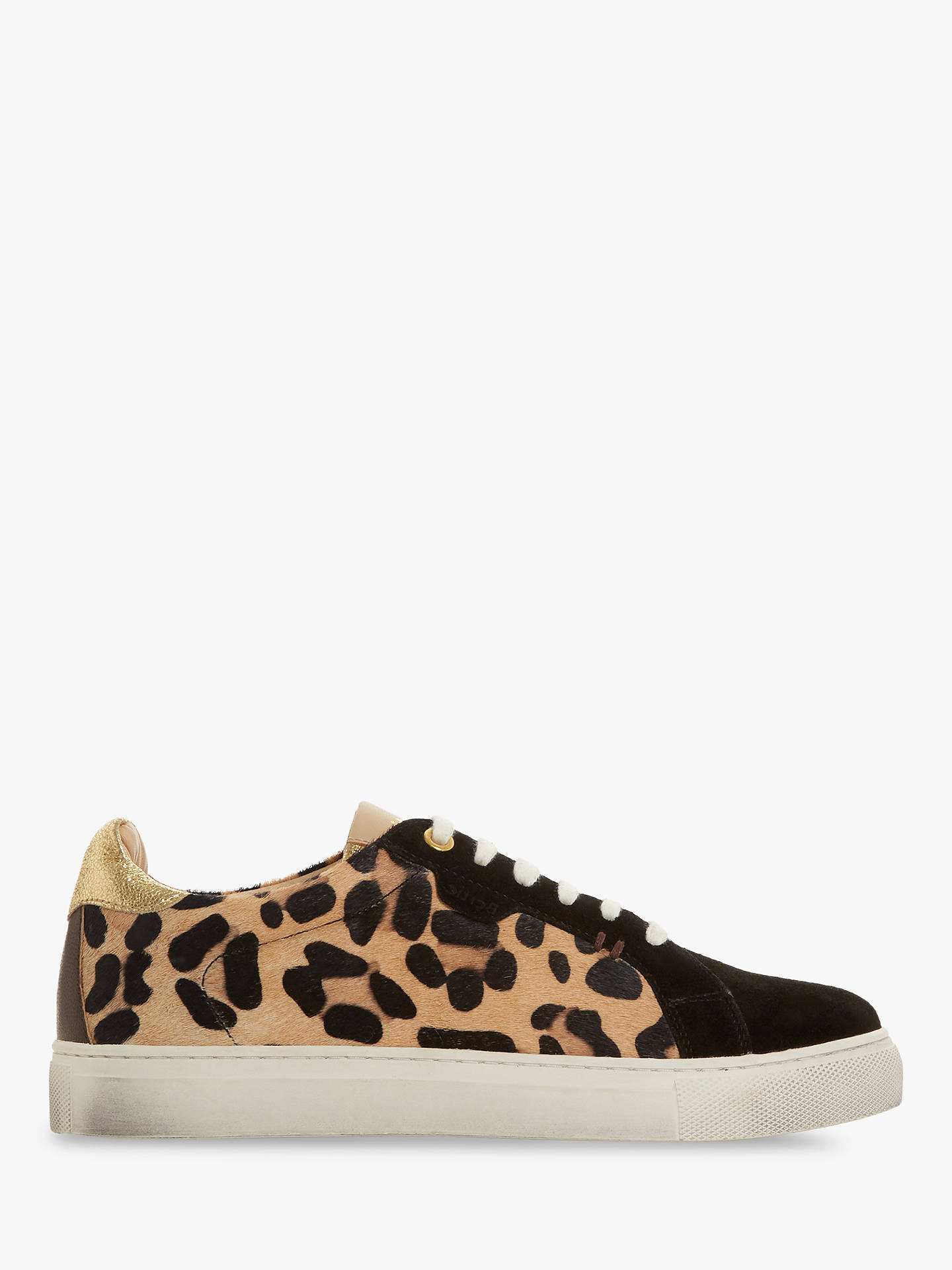 Buy Bertie Embber Lace Up Trainers, Leopard Leather, 8 Online at johnlewis.com