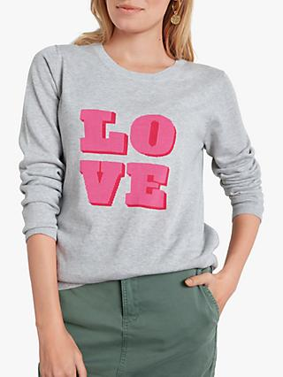 hush Love Square Jumper, Pale Grey Marl/Pink