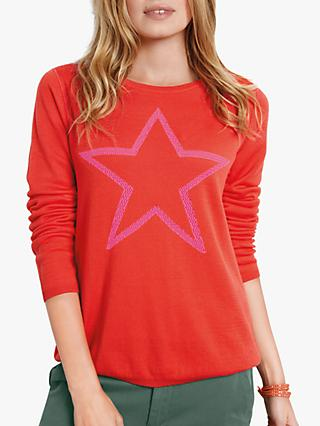 hush Reversible Star Jumper, Cherry/Bright Pink