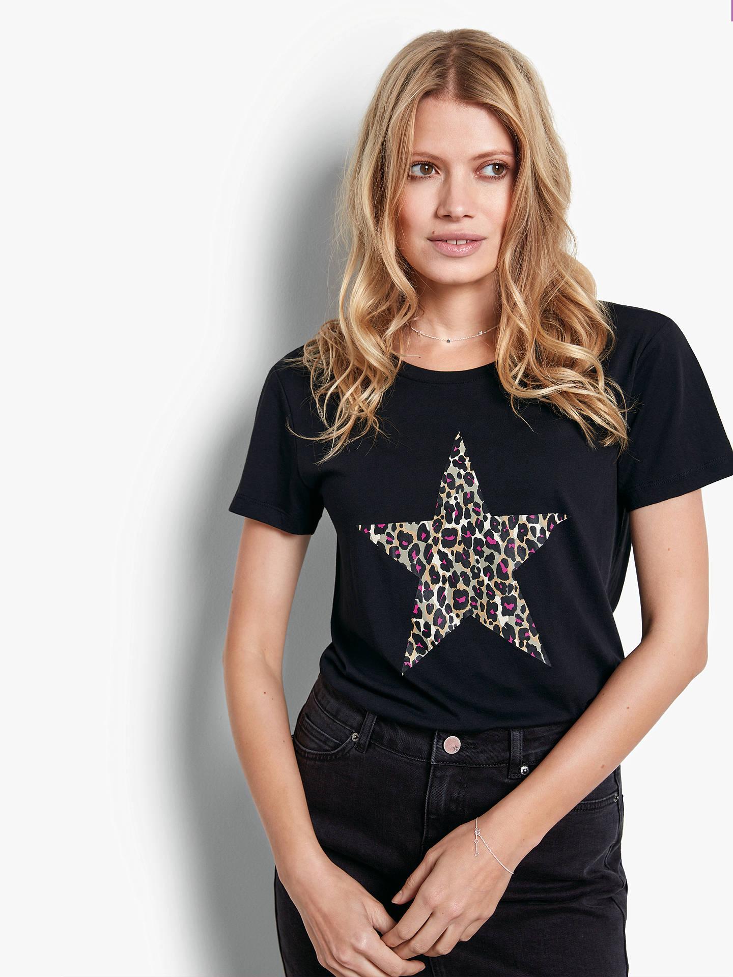 097eb5061b27 Buy hush Leopard Star Short Sleeve Cotton T-Shirt, Black, M Online at ...