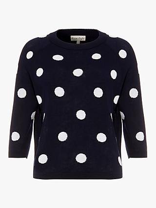 Phase Eight Shante Textured Spot Jumper, Navy