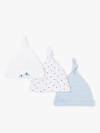 John Lewis & Partners Baby Elephant Knotted Hat, Pack of 3