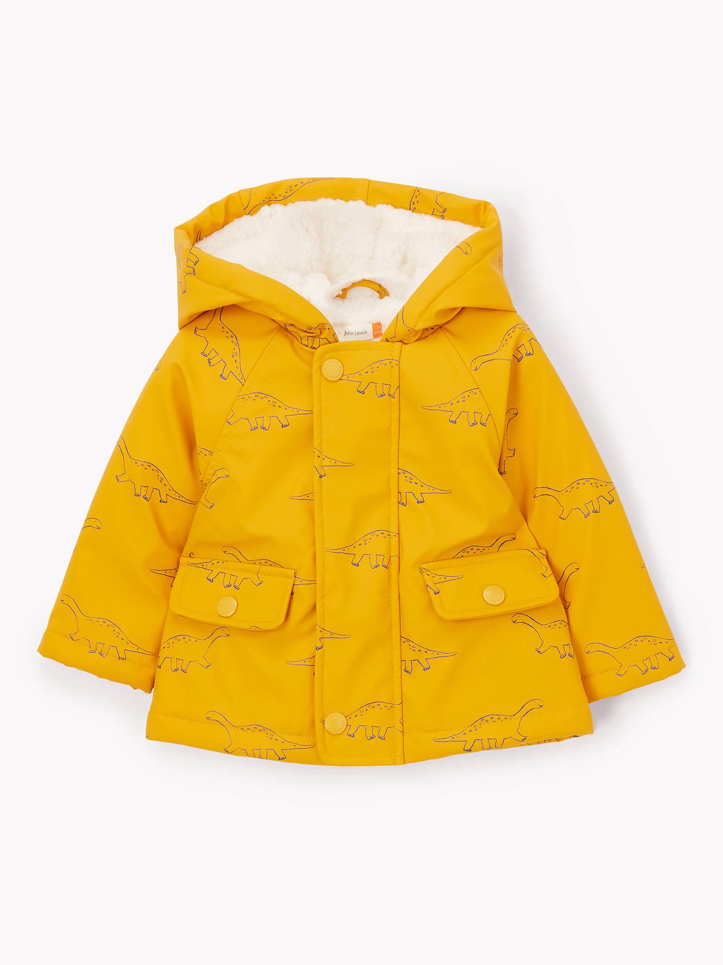 John Lewis & Partners Baby Dinosaur Jacket, Yellow by John Lewis & Partners