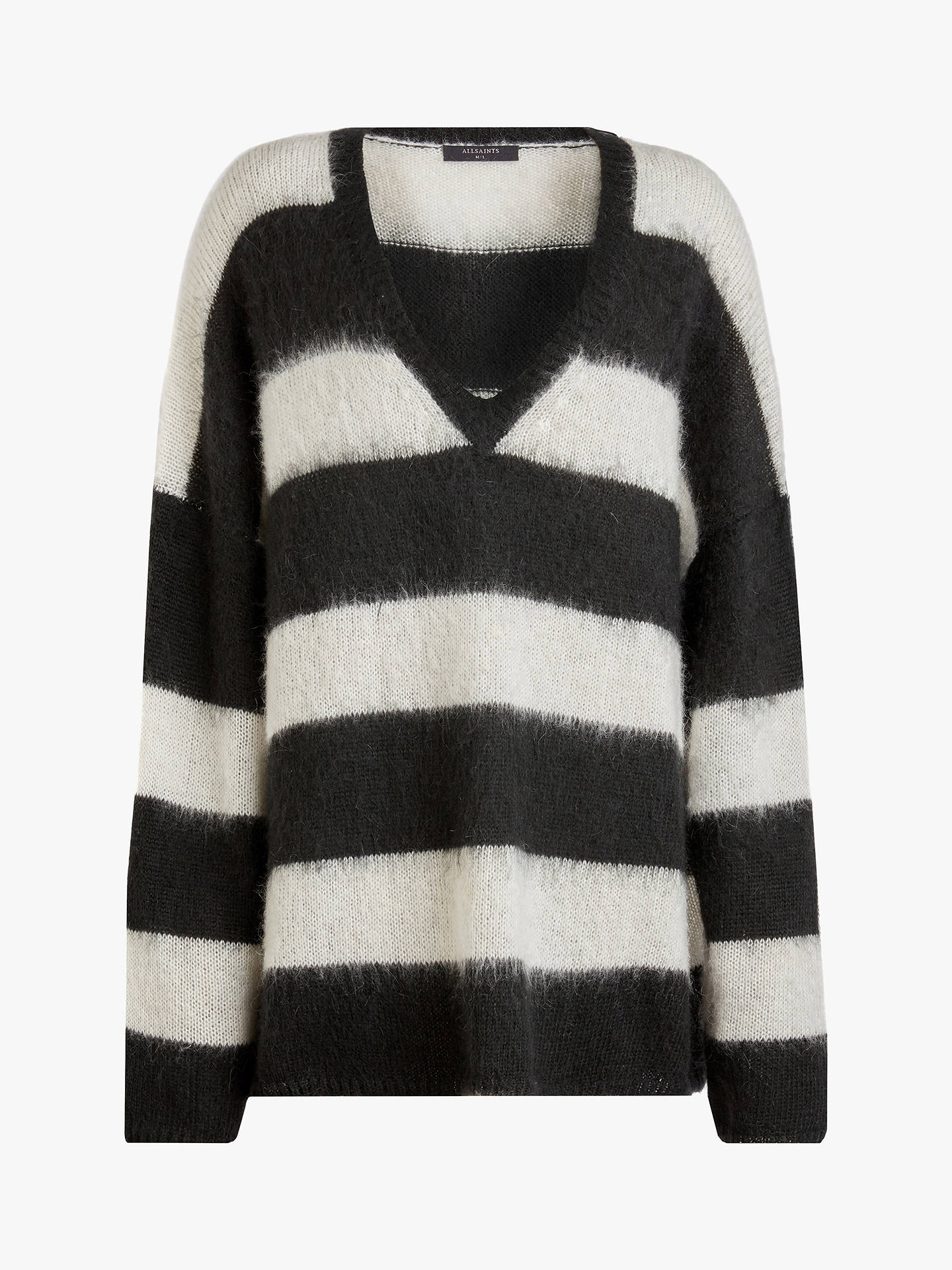 AllSaints Byers V Neck Striped Jumper, BlackCream White at