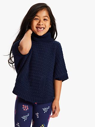 John Lewis & Partners Girls' Cable Knitted Poncho, Navy