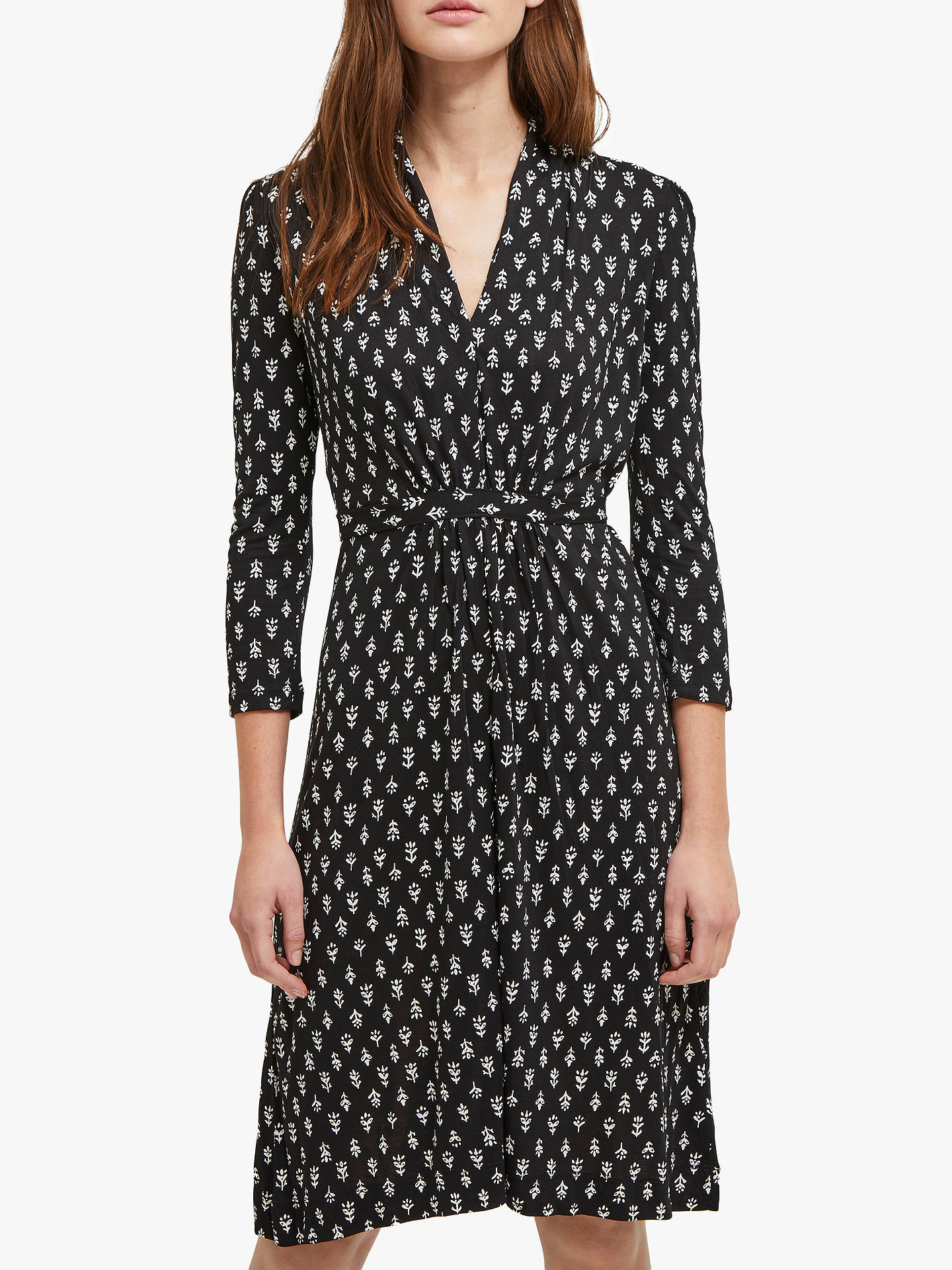7484f367df7 Buy French Connection Rossine Long Sleeve Dress, Black/White, 6 Online at  johnlewis ...
