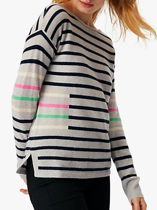 White Stuff Cashmere Jumper, Green Stripe