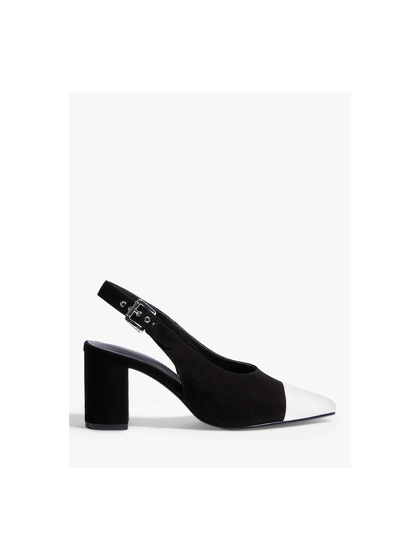 ef2f1c34b9e Karen Millen Block Heel Slingback Court Shoes, Black/White at John ...