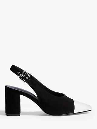 Karen Millen Block Heel Slingback Court Shoes, Black/White