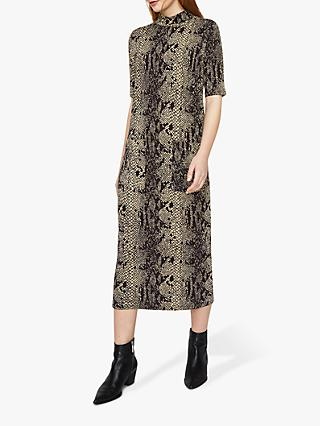 49e0292c35 Warehouse Oversized Ponte Snake Print Midi Dress