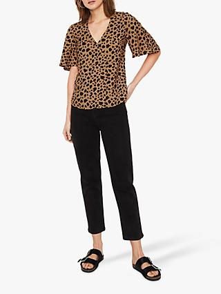 df95335fa1ae6c Warehouse Animal Print Side Button Top