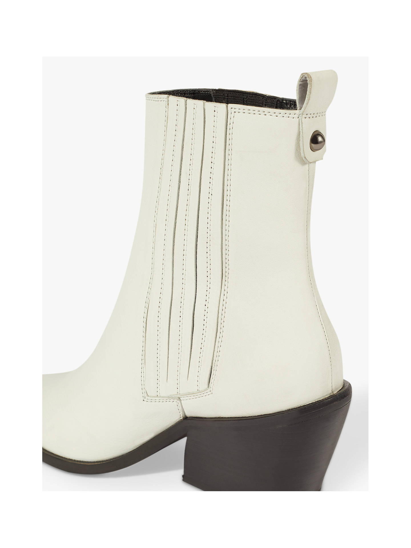 af6959d9dec Jigsaw Heath Cowboy Ankle Boots, White Leather at John Lewis & Partners