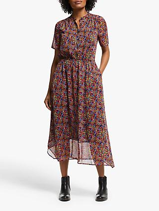 Collection WEEKEND by John Lewis Austin Painterly Floral Handkerchief Dress, Black/Multi