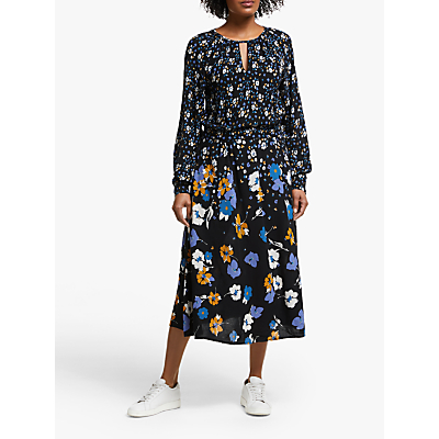 Collection WEEKEND by John Lewis Alexandra Floral Midi Dress, Black/Multi