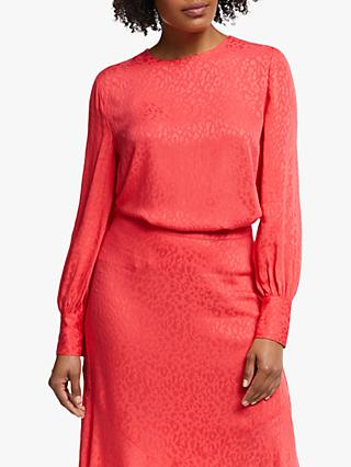 Collection WEEKEND by John Lewis Animal Jacquard Blouse, Red Pink