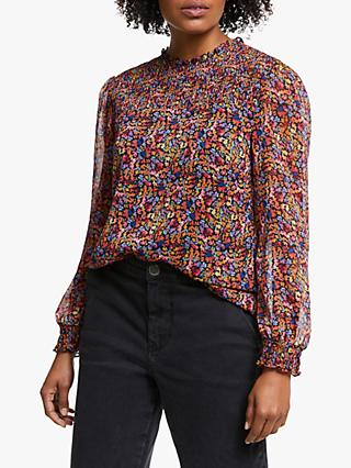 Collection WEEKEND by John Lewis Austin Painterly Floral Smock Detail Top, Multi/Black