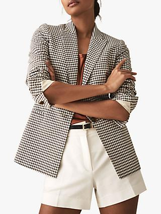 Reiss Carley Cotton Houndstooth Check Blazer, Brown/White