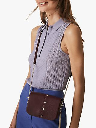 Reiss Angelo Textured Sleeveless Polo Top, Lavender
