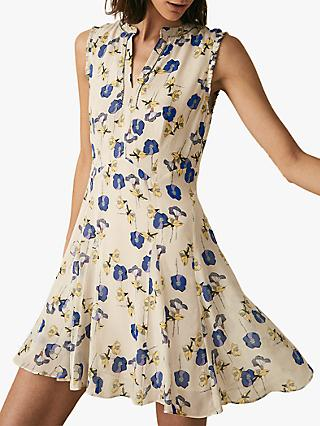 Reiss Mika Floral Dress, Blue/White