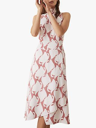 Reiss Doriana High Neck Printed Dress, Pink Swirl