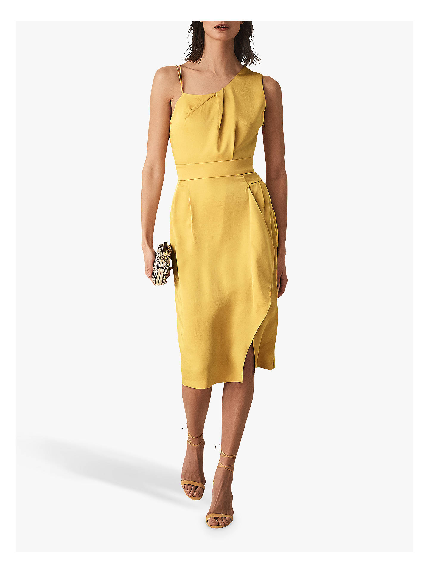 Buy Reiss Sara Ruffle Detail Dress, Yellow, 10 Online at johnlewis.com
