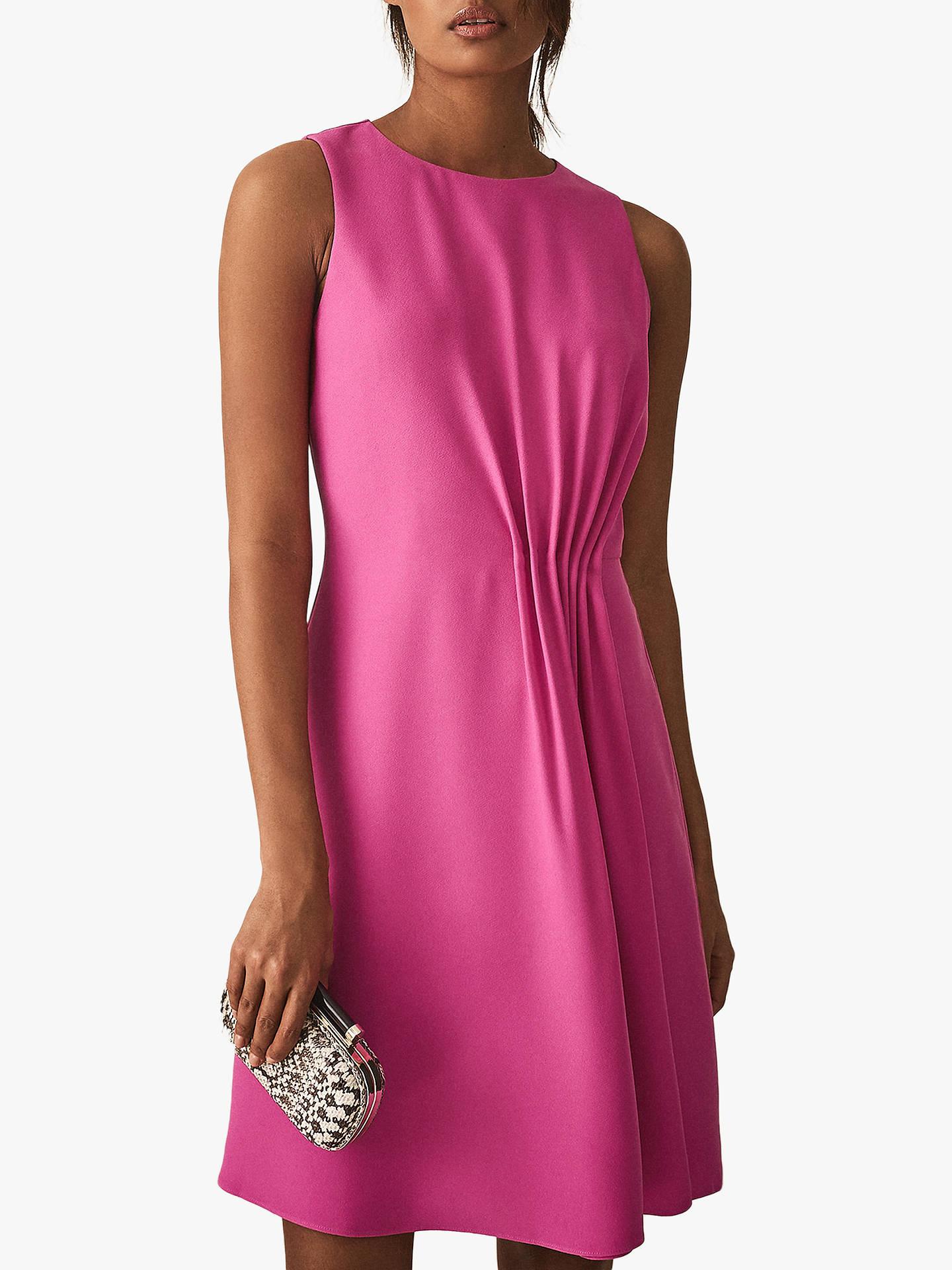 Reiss Nadia Pleat Detail Dress, Pink at John Lewis & Partners