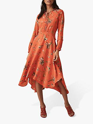 Reiss Bay Floral Midi Dress, Coral