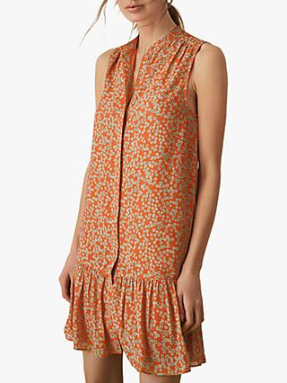 Reiss Nia Spot Drop Waist Dress, Coral