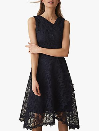 Reiss Rayna Wrap Front Lace Dress, Navy