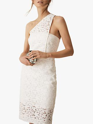 Reiss Sophia One Shoulder Lace Embroidered Dress, White