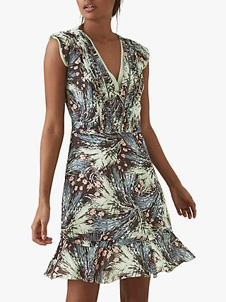Reiss Bertie Grass Print Flared Hem Dress, Green/Multi