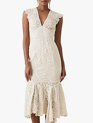 Reiss Anastasia Sheer Lace Dress, Neutral