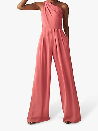 Reiss Polly One-Shoulder Jumpsuit, Coral