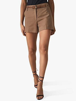 Reiss Lyla Twill Cotton Blend Shorts, Latte